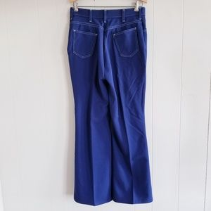 1970s Montgomery Ward Blue Poly Flare Pants